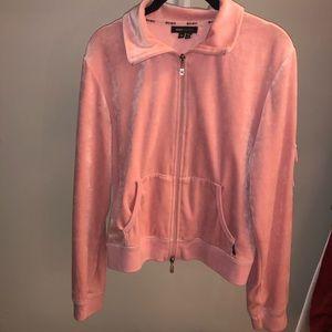 Velvet baby pink zip up